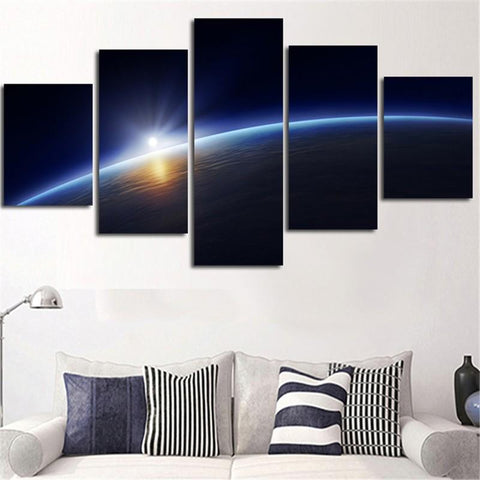 Planet Earth Home 5 Piece Canvas Painting