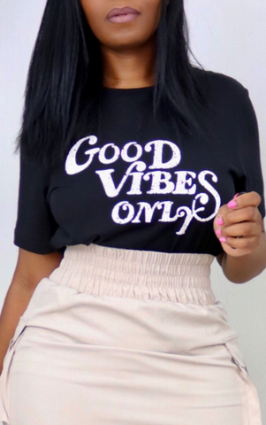 Black Good Vibes Only Tee