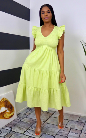 Lime Tiered Dress