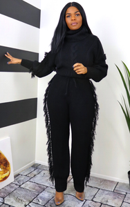 Black Fringes Pant Set