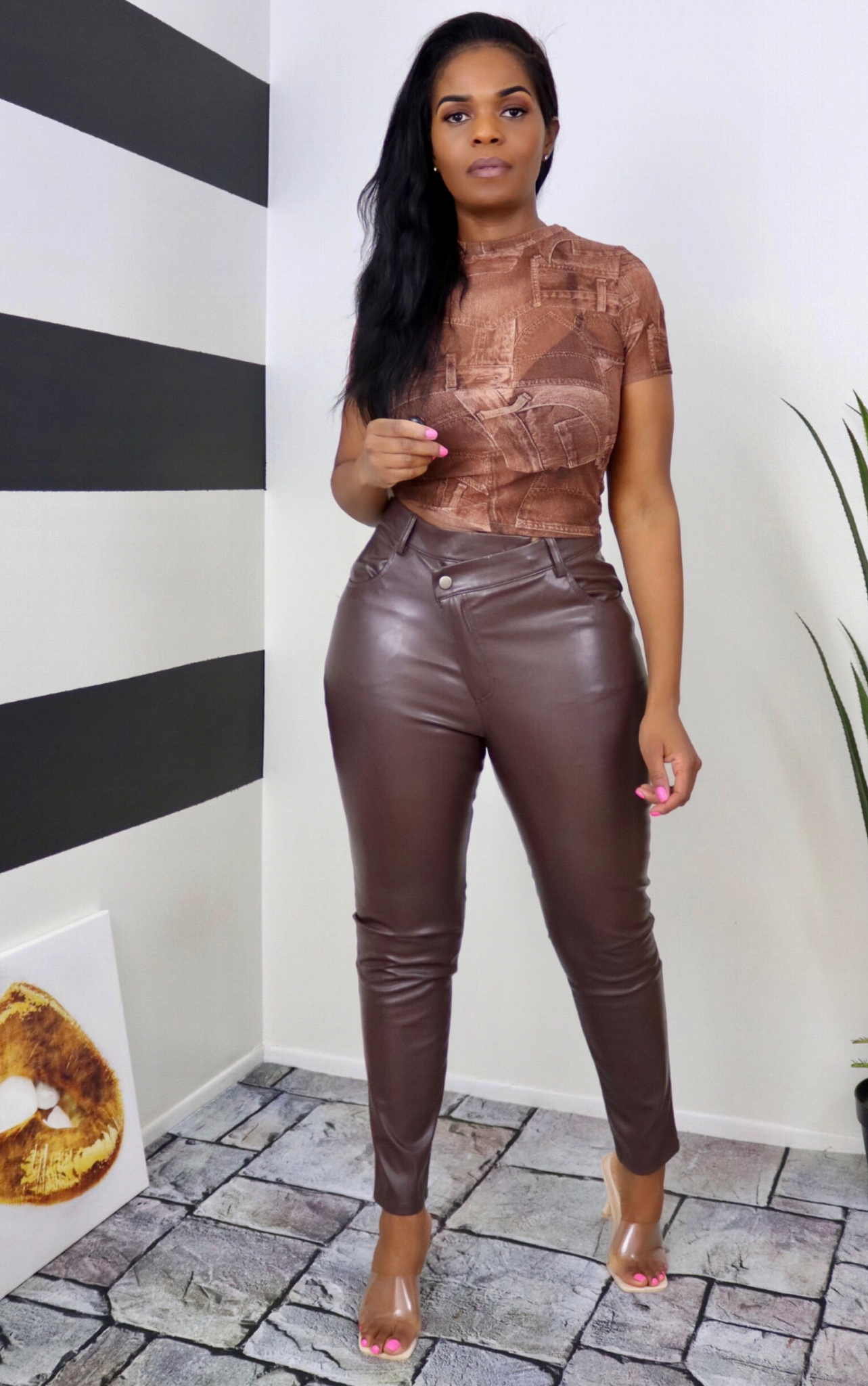 Chocolate Unique Vegan Leather Pants