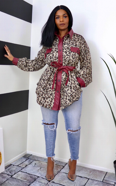 Leopard Fleece/Leatherette Coat