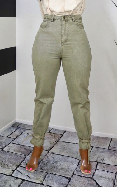 Olive Wash Denim Joggers