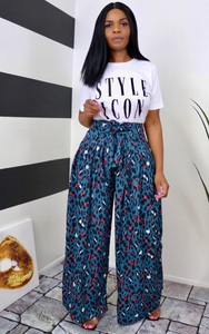 Teal Animal Palazzo Pants