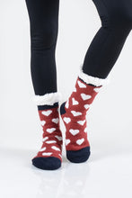 Faux Sherpa Heart Slipper Socks