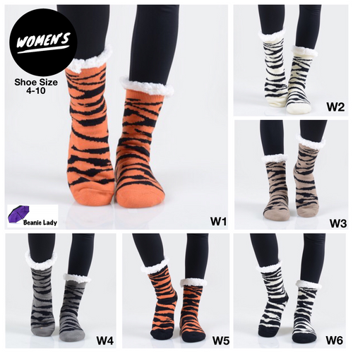 Faux Sherpa Tiger Stripe Slipper Socks
