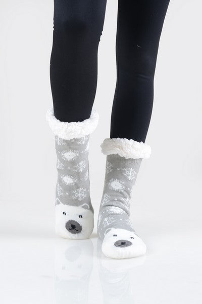 Faux Sherpa Animal Slipper Socks