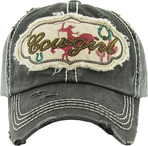 "Distressed Vintage ""Cowgirl"" Cap"