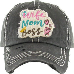 "Distressed Vintage ""Wife Mom Boss"" Cap"