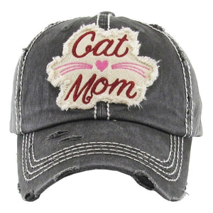 "Distressed Vintage ""Cat Mom"" Cap"