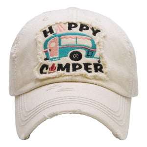 "Distressed Vintage ""Happy Camper"" Cap"