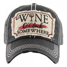 "Distressed Vintage ""It's Wine O'Clock Somewhere"" Cap"