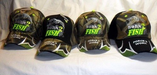 Born 2 Fish, Force 2 Work Embroidered Cap