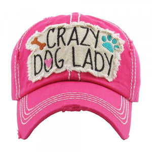 "Distressed Vintage ""Crazy Dog Lady"" Cap"