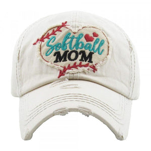 "Distressed Vintage ""Softball Mom"" Cap"
