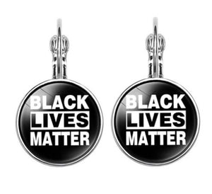 Glass Cabochon Black Lives Matter Earrings