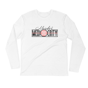 Murder Mediocrity Long Sleeve Fitted Crew - White