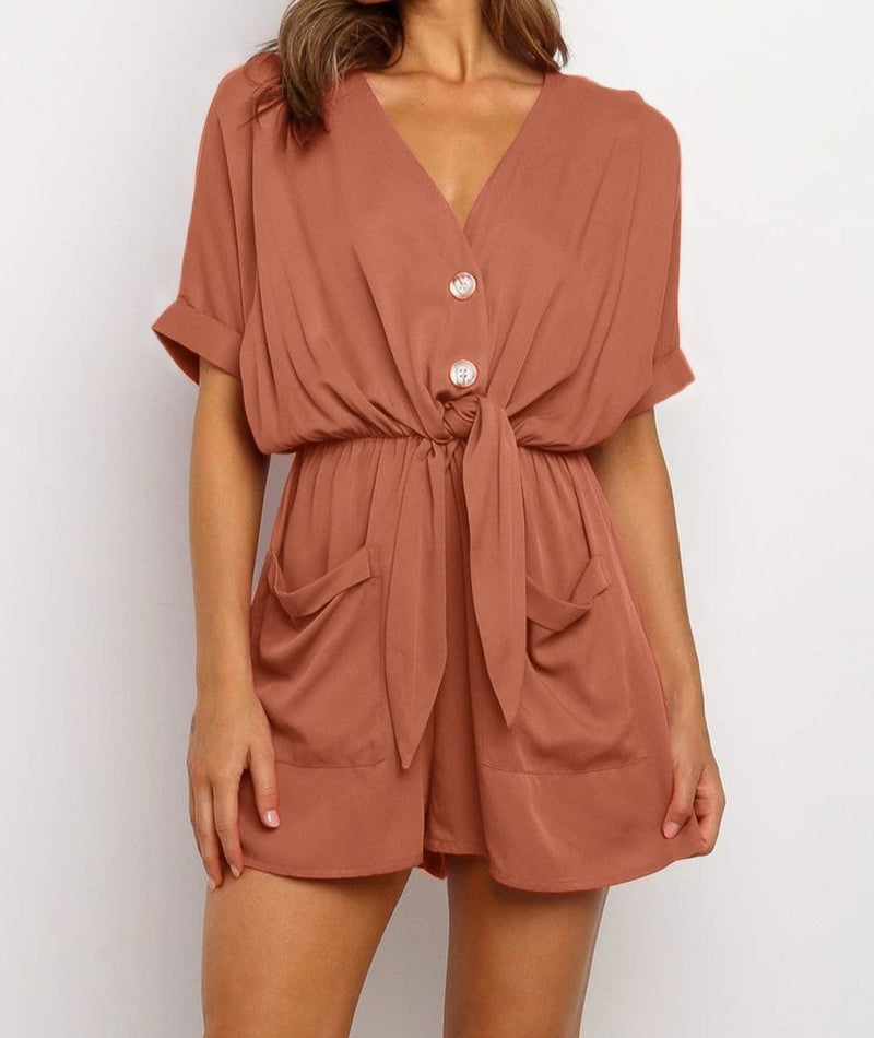 Rust V Neck Tunic Romper with Pockets