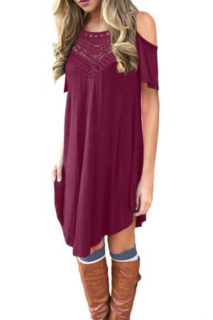 Red Lace Hollow-out Cold Shoulder Casual Dress