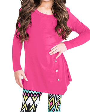 Rose Little Girl Long Sleeve Button Tunic
