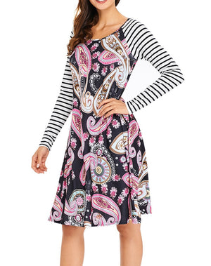 Black Paisley Print Stripe Raglan Sleeve Dress