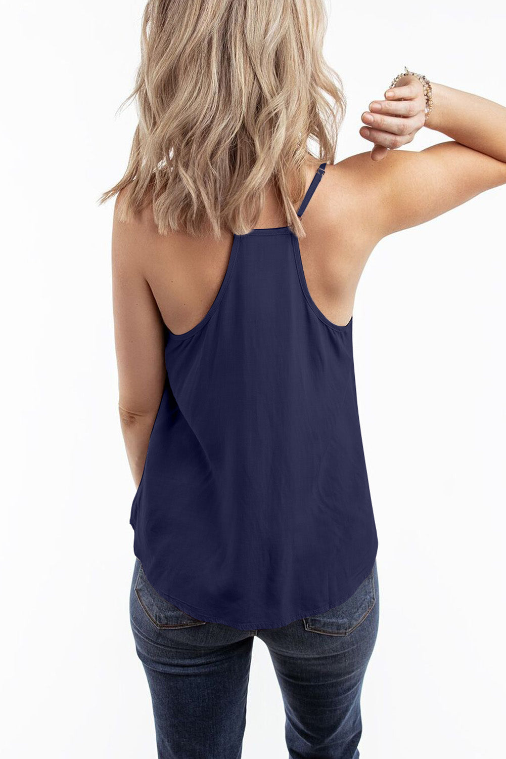 Blue V Neck Strappy Embroidery Tank Top