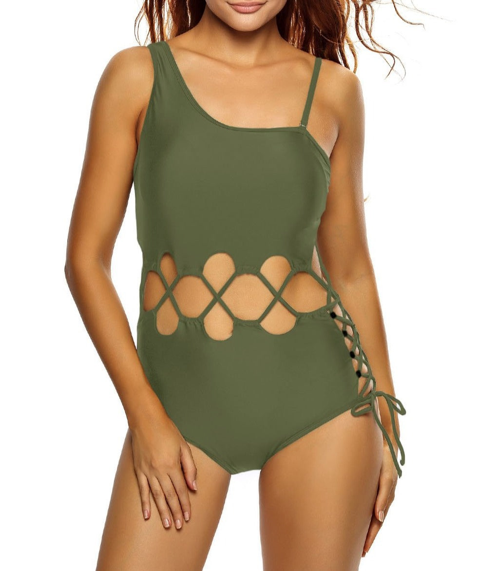 Army Green Lace Up Cutout Asymmetric Shoulder Monokini
