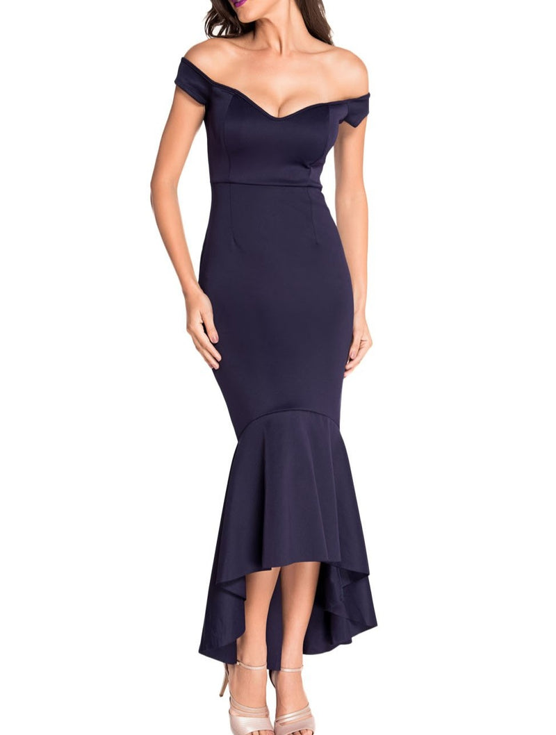 Navy Off-shoulder Mermaid Jersey Evening Dress