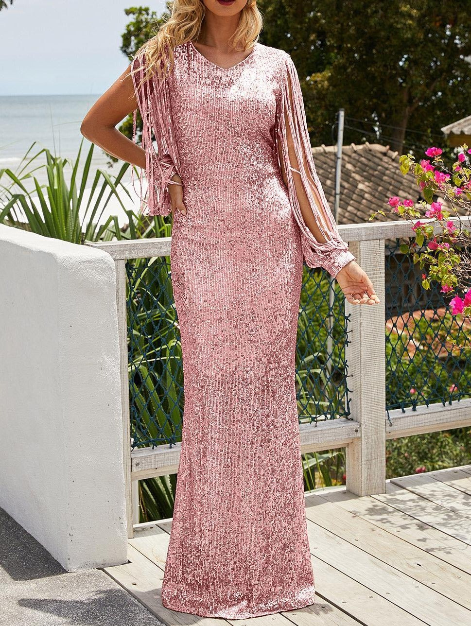 Pink Sequin Fringe Sleeve Party Maxi Evening Dress