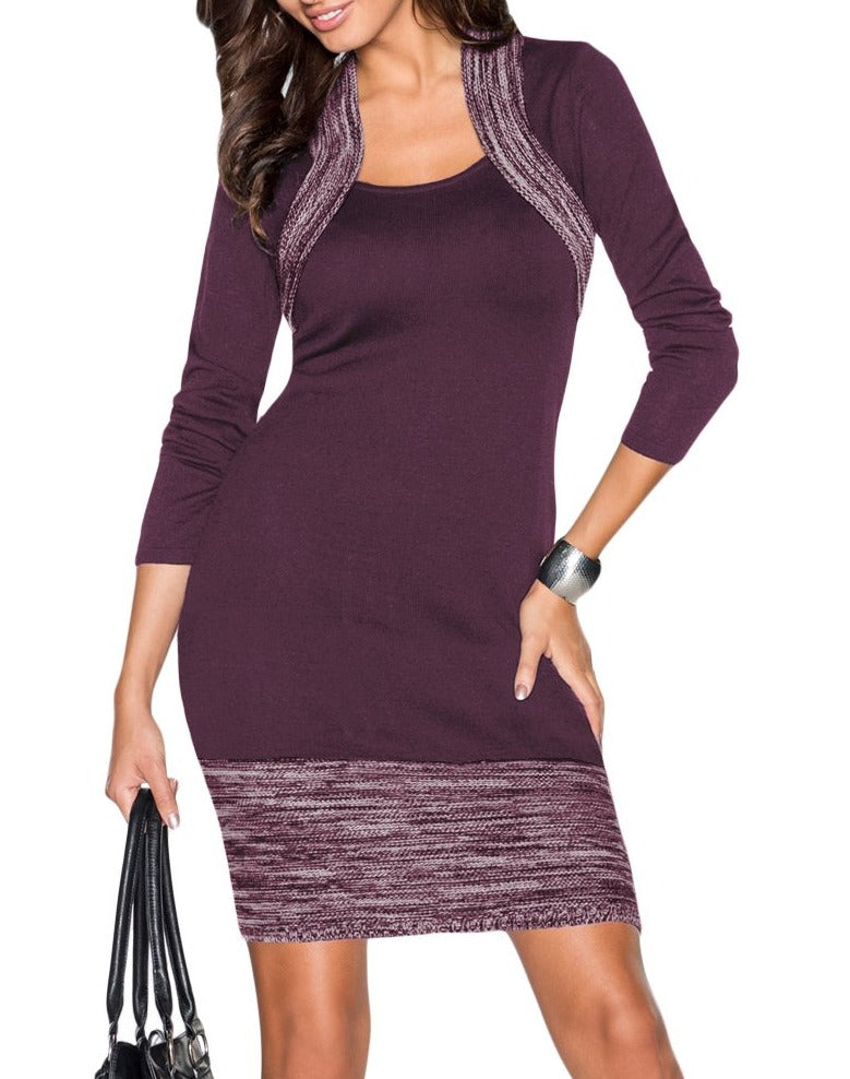 Red Feminine Knit Dress with Contrasting Color