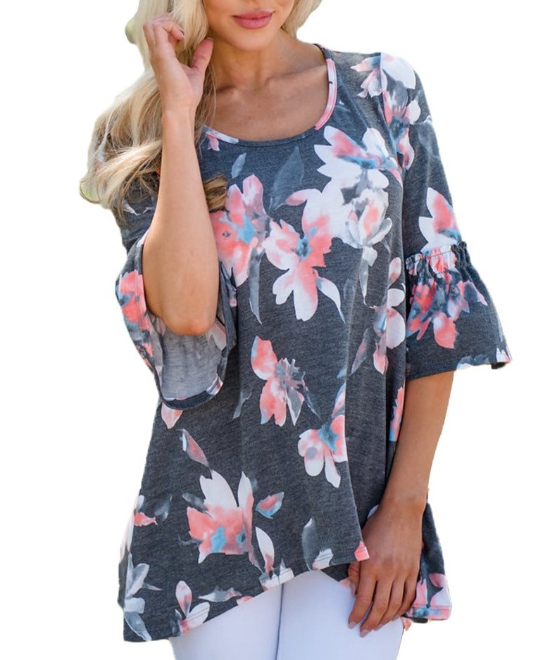 Mid Length Bell Sleeve Charcoal Floral Blouse