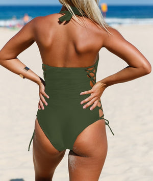 Army Green Lace up Side Accent Open Back One-piece Swimsuit