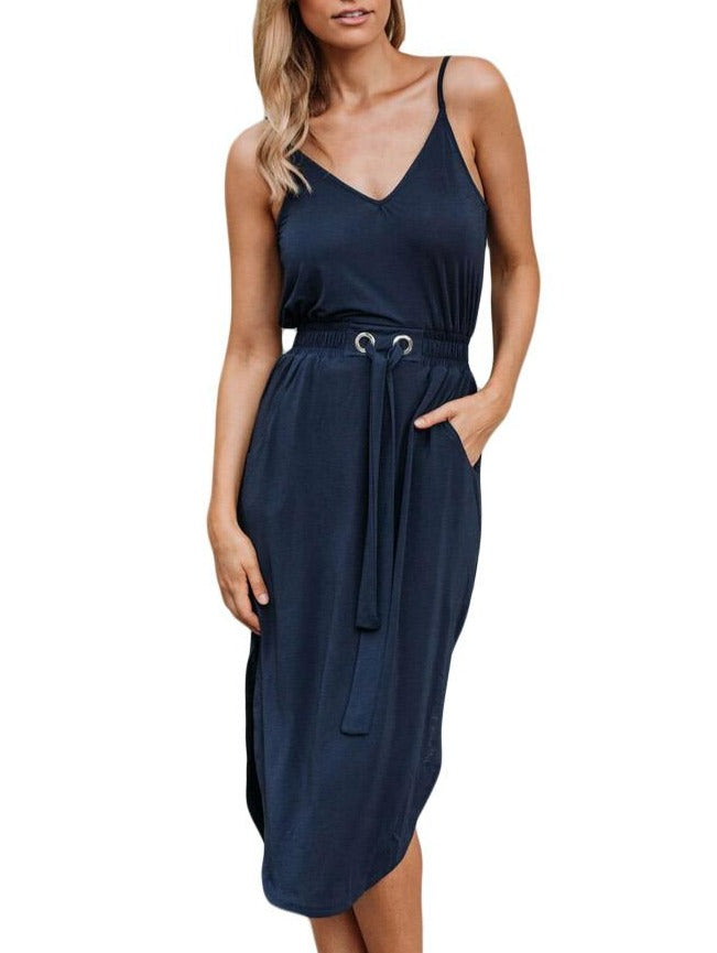 Blue Spaghetti Straps Drawstring Waist Midi Dress