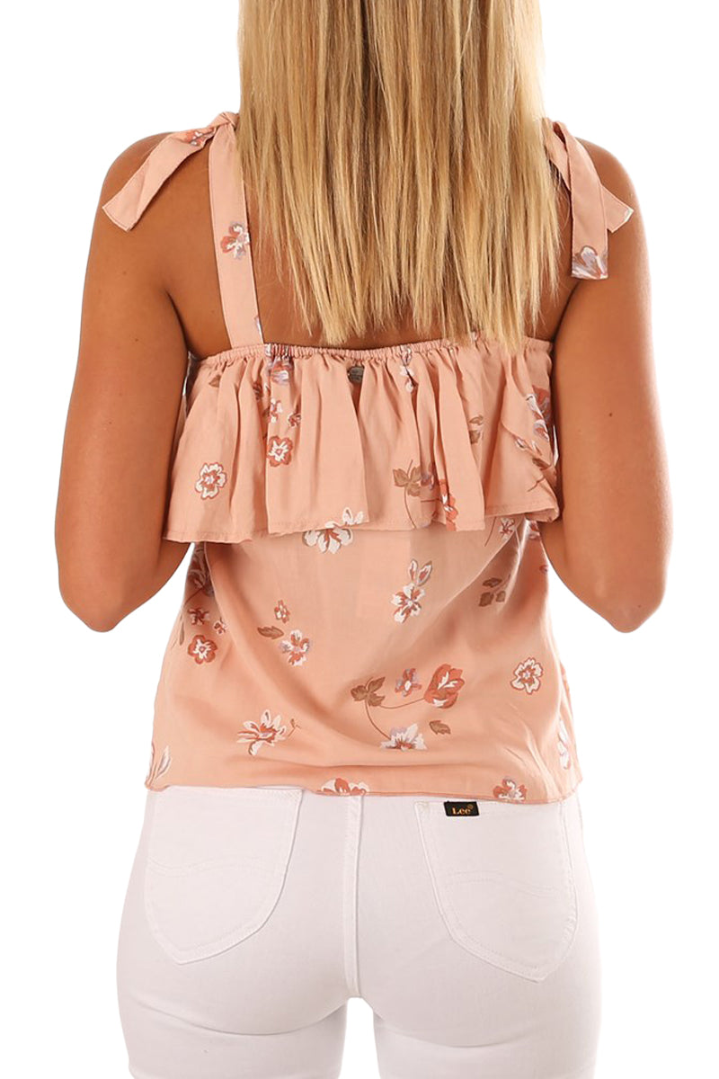 Tie-shoulder Straps Light Coral Ruffle Floral Vest