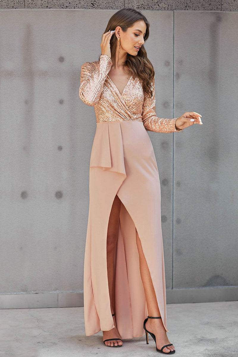 Apricot Long Sleeve V Neck Wrapped Sequin Bodice Long Party Dress