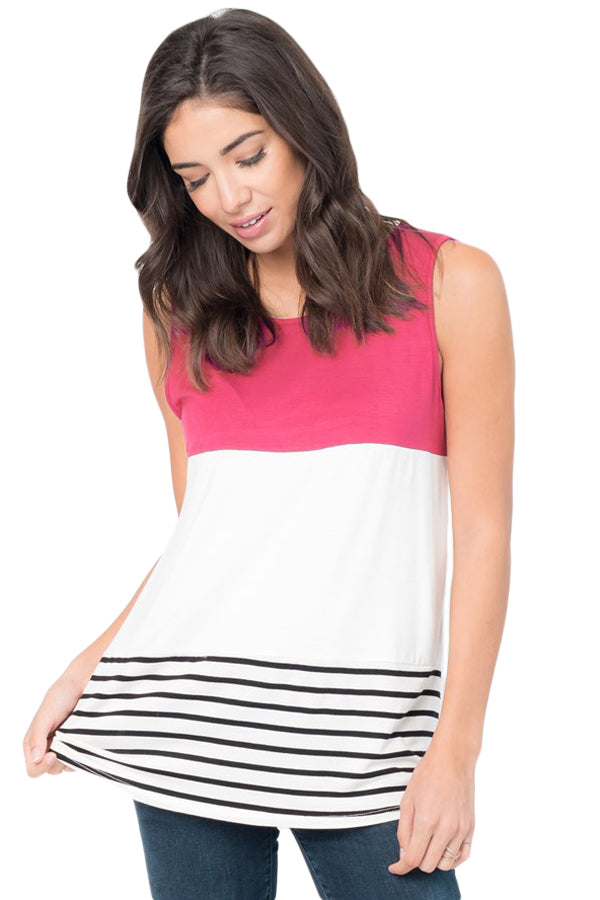 Rosy Paneled Striped Racerback Tank Top