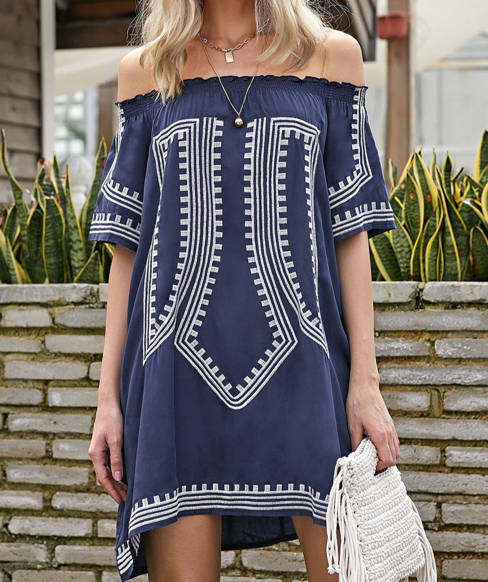 Bohemian Vibe Geometric Print Off The Shoulder Beach Dress