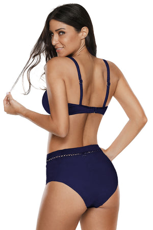 Blue V Neck Hollow Out High Waist Bikini