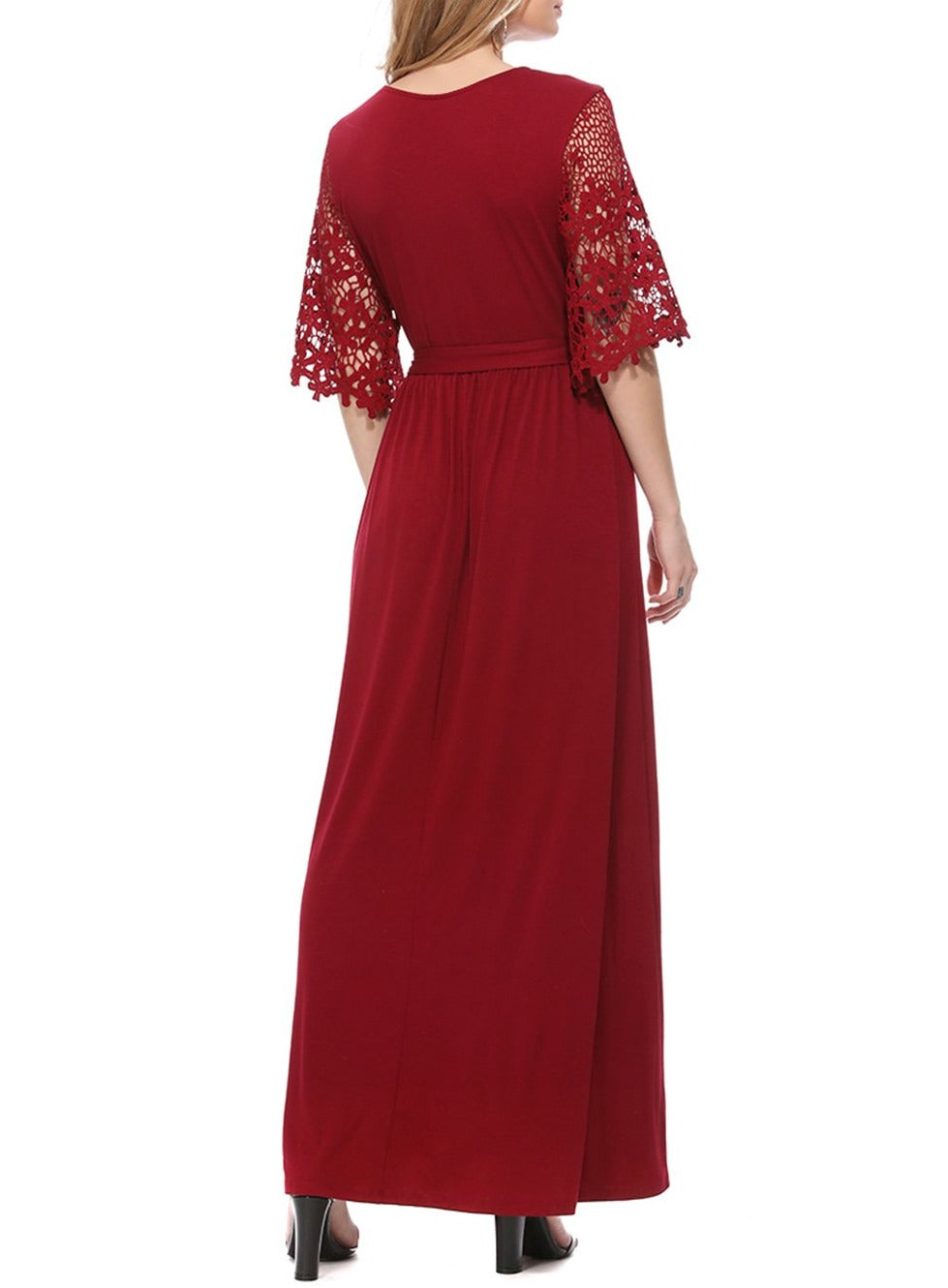 Red Floral Lace Half Sleeve Wrap V Neck Party Long Maxi Dress