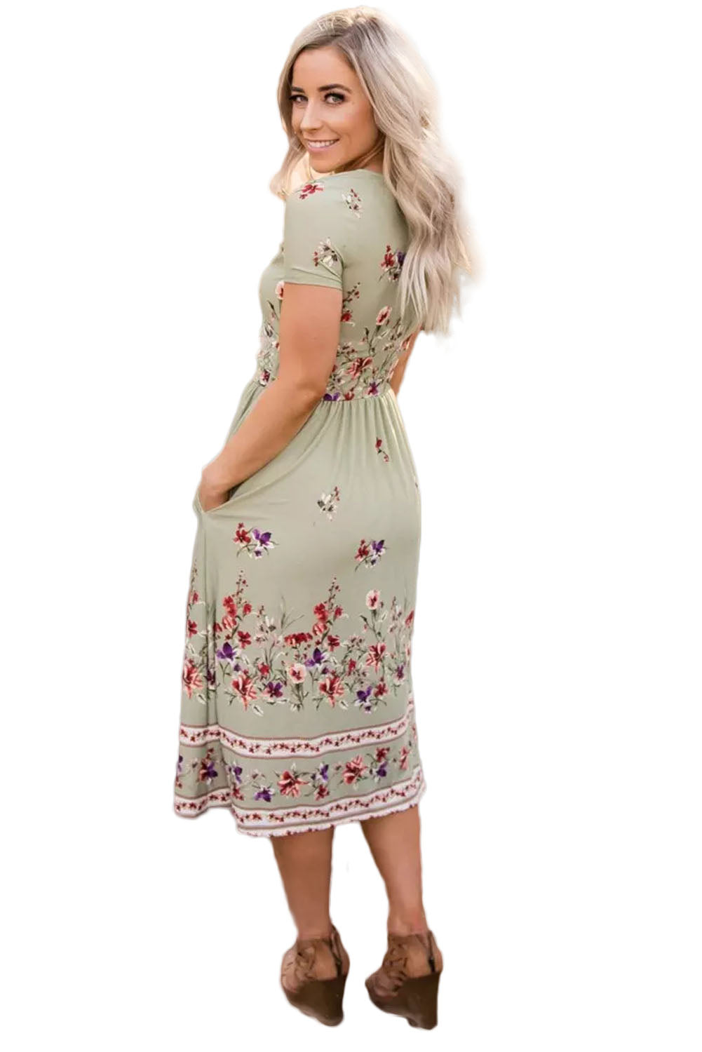 Sage Green Floral Print Faux Wrap Midi Dress