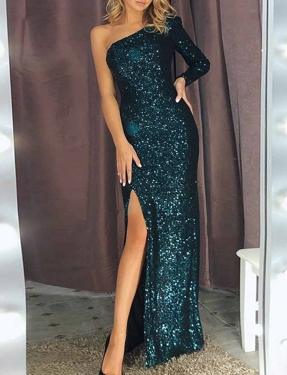 Green Fortune One Shoulder Front Slit Sequin Gown
