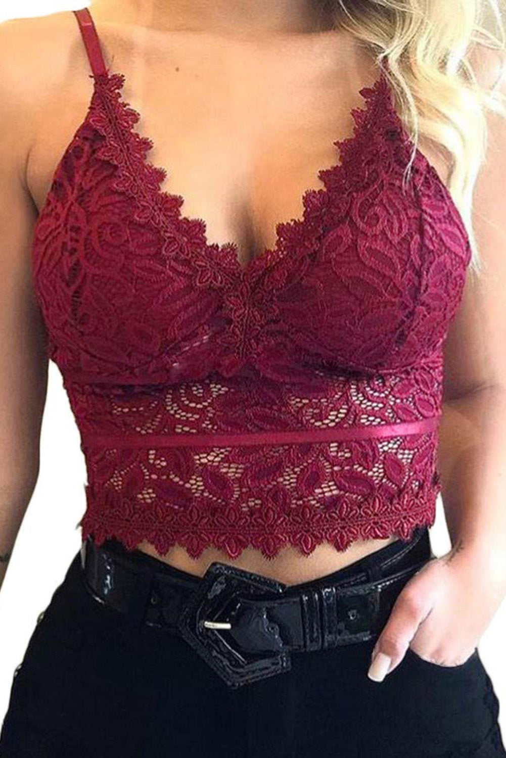 Red Deep V Lace Bralette Crop Top