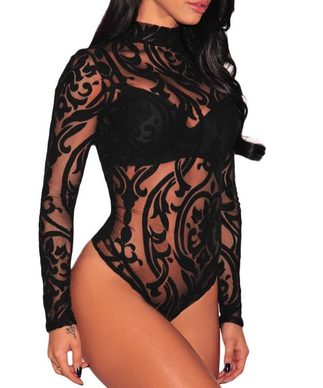 Black Sheer Mesh Print Long Sleeves Bodysuit