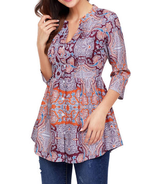 Orange and Purplish Print Chiffon Button-Down Pin Tuck Tunic