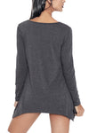 Grey Handkerchief Hem Rose Skull Tunic Top