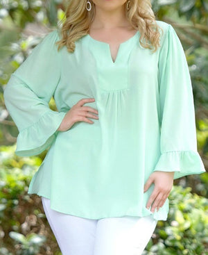 Light Mint Green Casual Plus Size Top