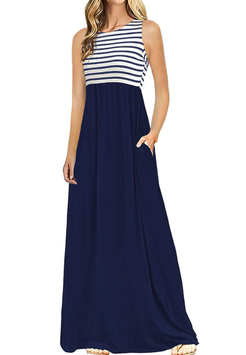Navy White Striped High Waist Tank Maxi Dress