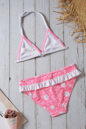 Pink Floral Halter Bathing Suit for Girls