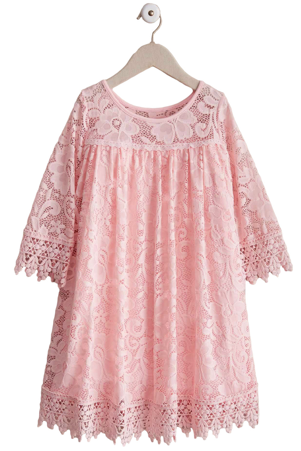 Pink Girls Dreamy Lace Dress