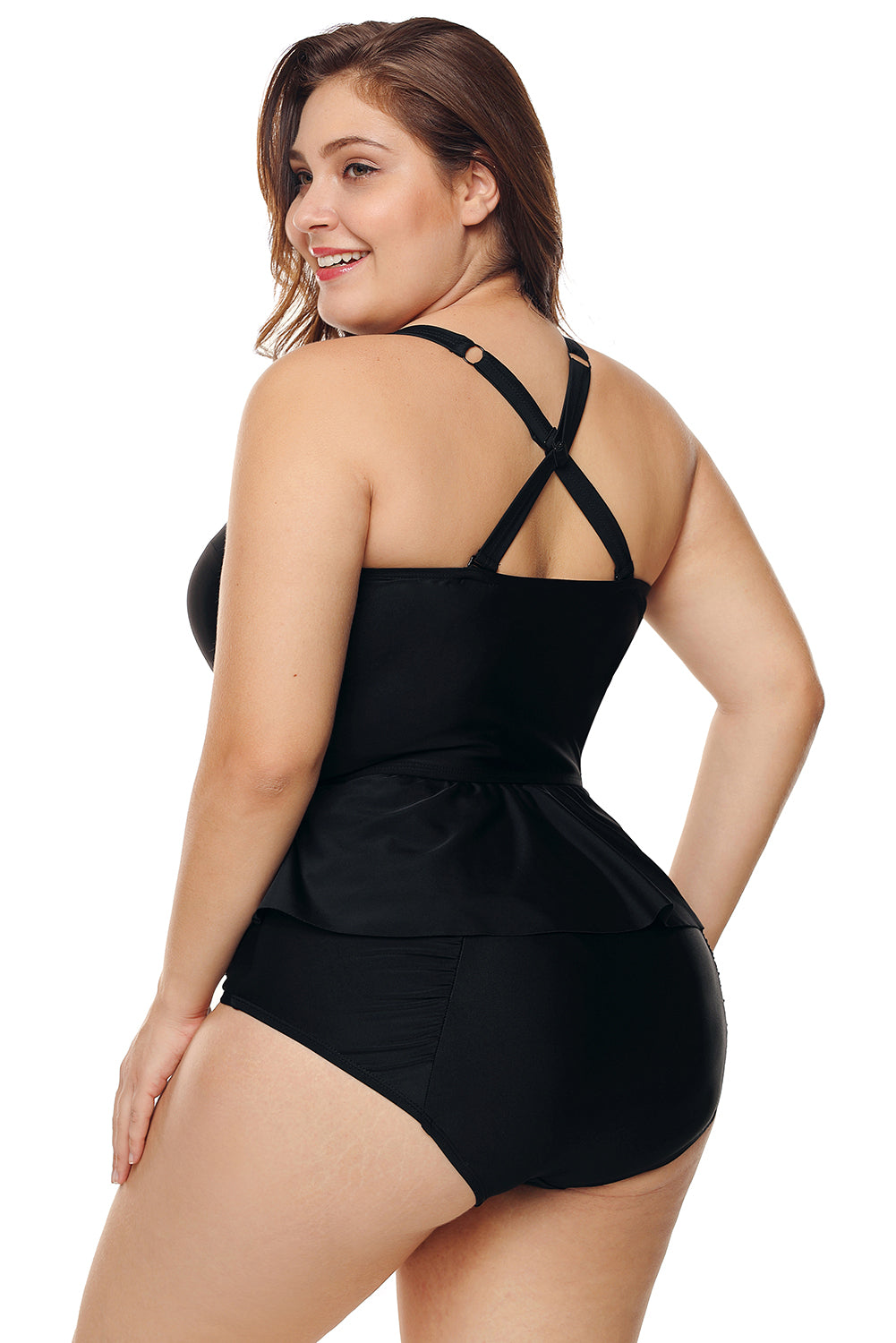 Black Moulded Cups Peplum Plus Size Bikini